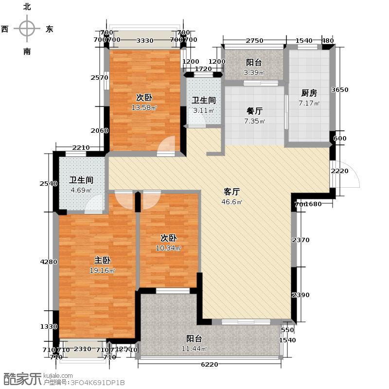 加州香山美树121.00㎡D3户型3室1厅2卫1厨