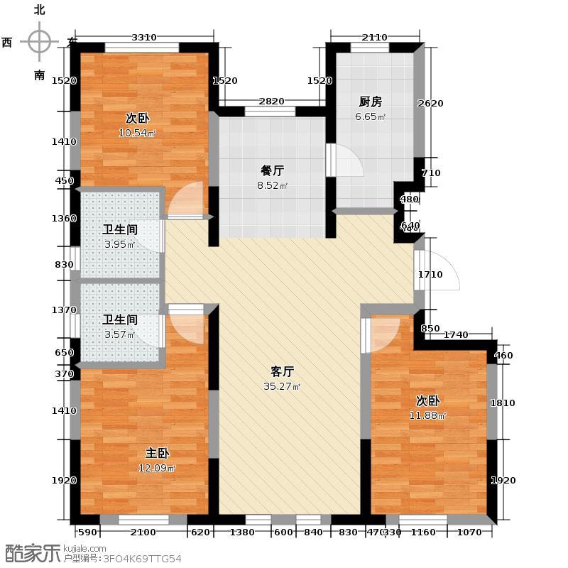 智造创想城122.10㎡10/14/18号楼D1户型3室2厅2卫