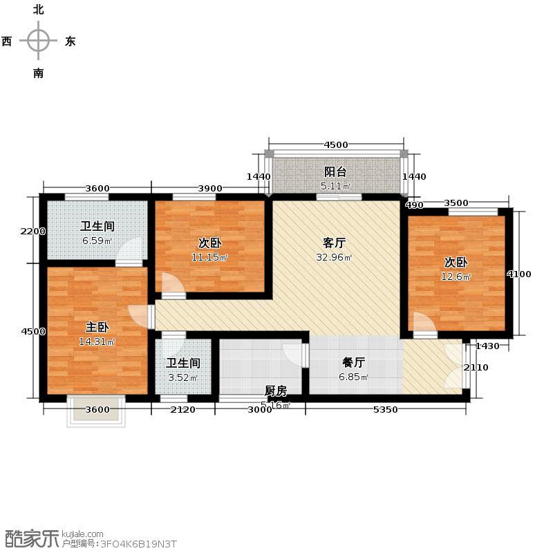 上林沣苑130.22㎡户型3室2厅2卫
