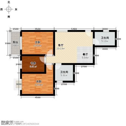 晟方佳苑3室1厅2卫0厨99.00㎡户型图