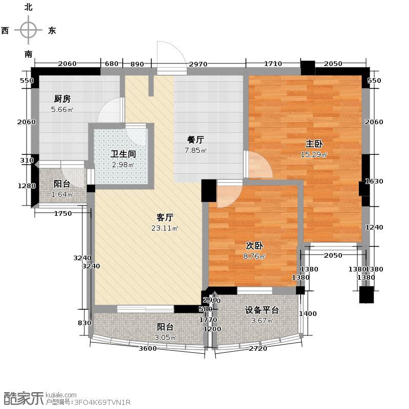 海悦天地85.00㎡D户型2室2厅2卫