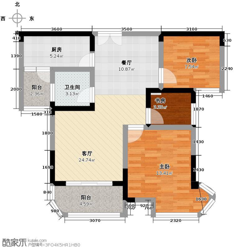 五矿万境水岸89.52㎡6、10号栋户型3室2厅1卫