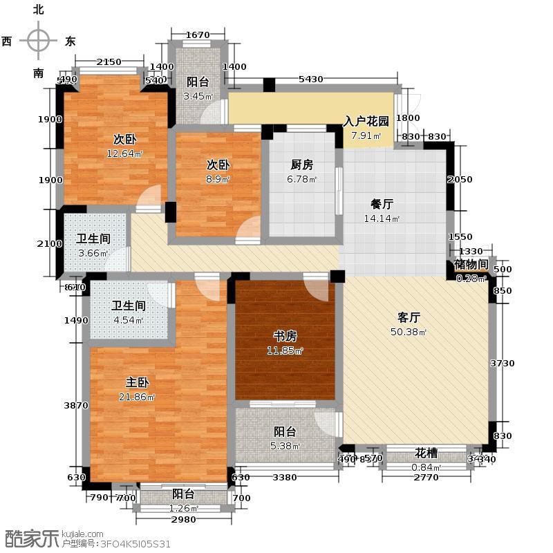 和泓四季134.00㎡一期洋房第19栋标准层C型5F户型3室2厅2卫