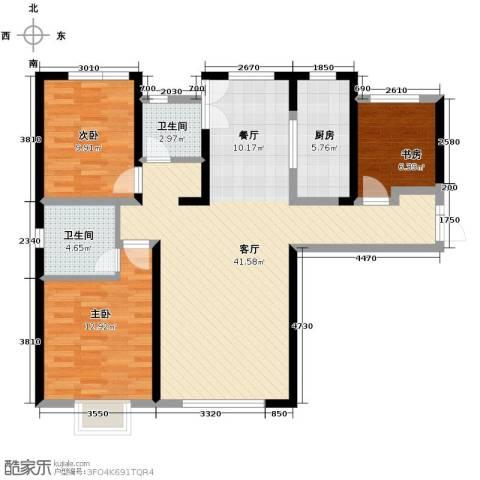 路劲太阳城3室2厅2卫0厨123.00㎡户型图