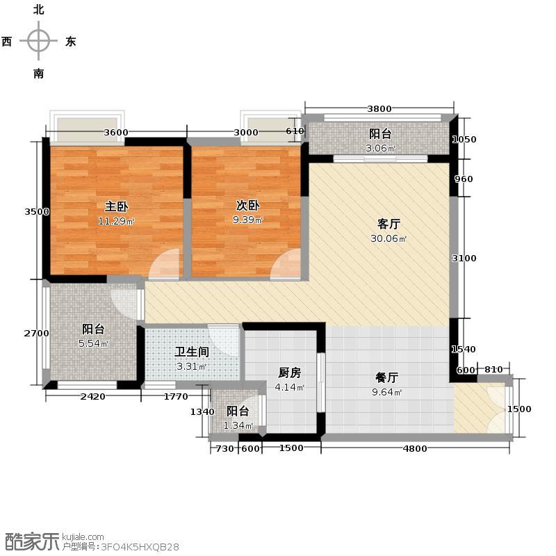 华宇金沙时代70.57㎡三期2号楼3-29层2/号房户型2室1厅1卫1厨