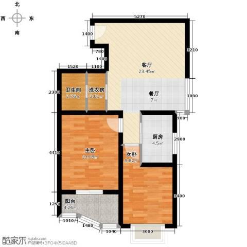 佳境观邸2室1厅1卫1厨87.00㎡户型图