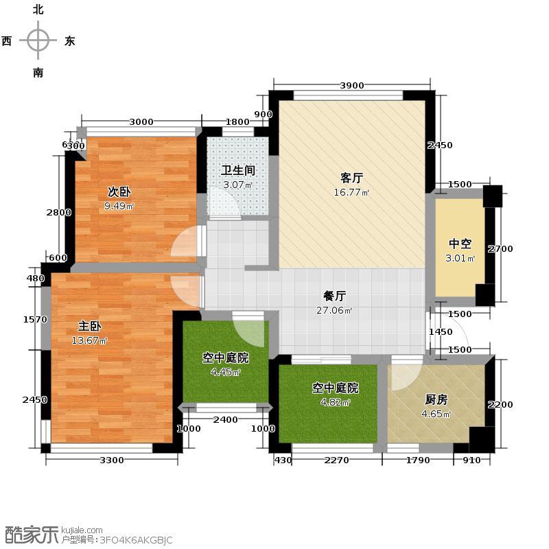 长房时代城83.10㎡B6户型2室2厅1卫