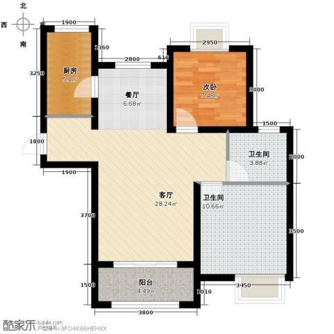 太湖国际社区2室2厅1卫0厨88.00㎡户型图