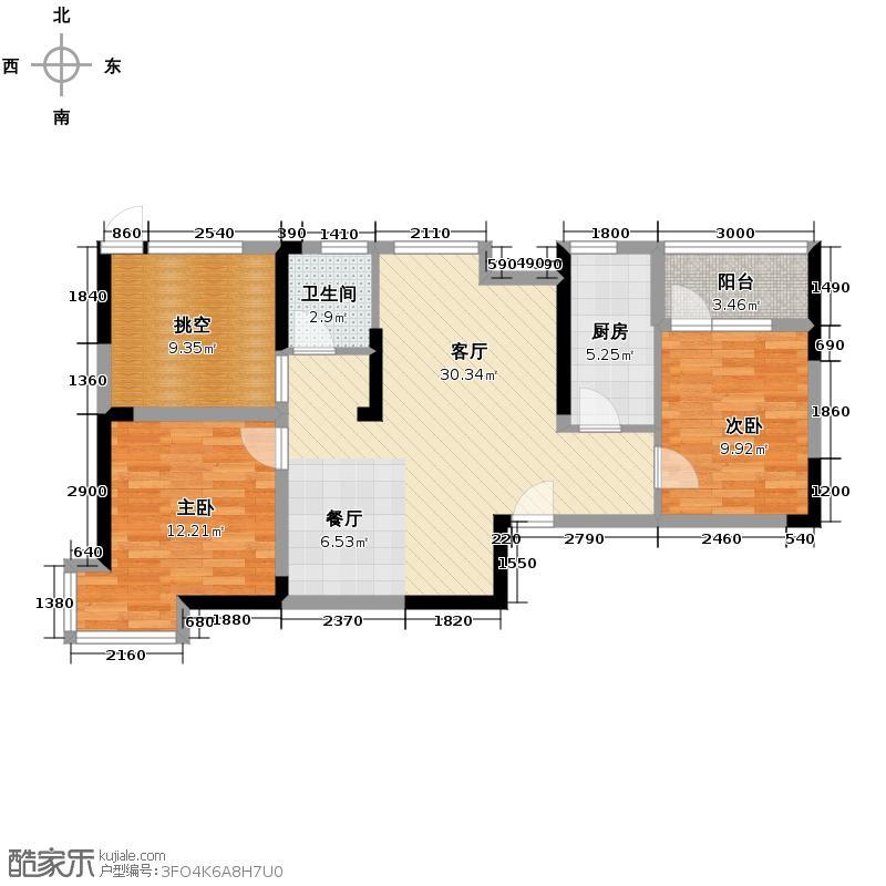 保利心语90.00㎡12B、15、16号楼G1户型3室2厅1卫