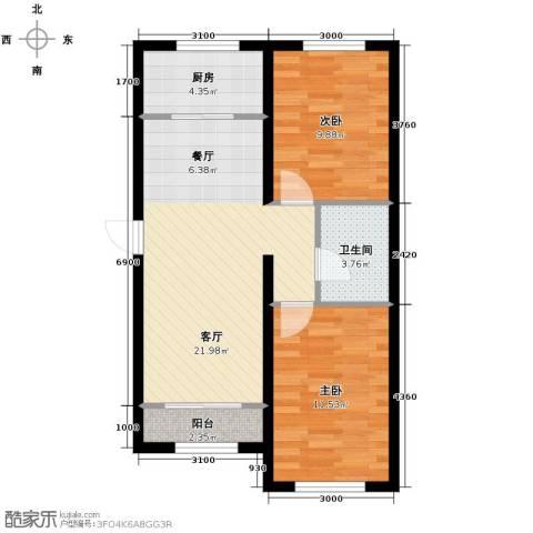 纳帕澜郡2室2厅1卫0厨91.00㎡户型图