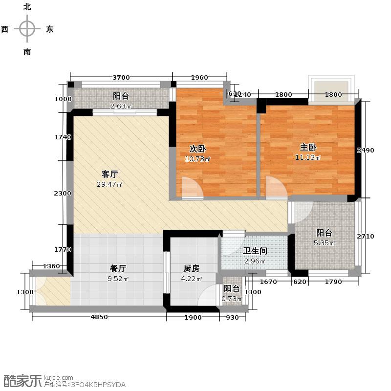 华宇金沙时代70.92㎡17号楼2号房户型2室1厅1卫1厨