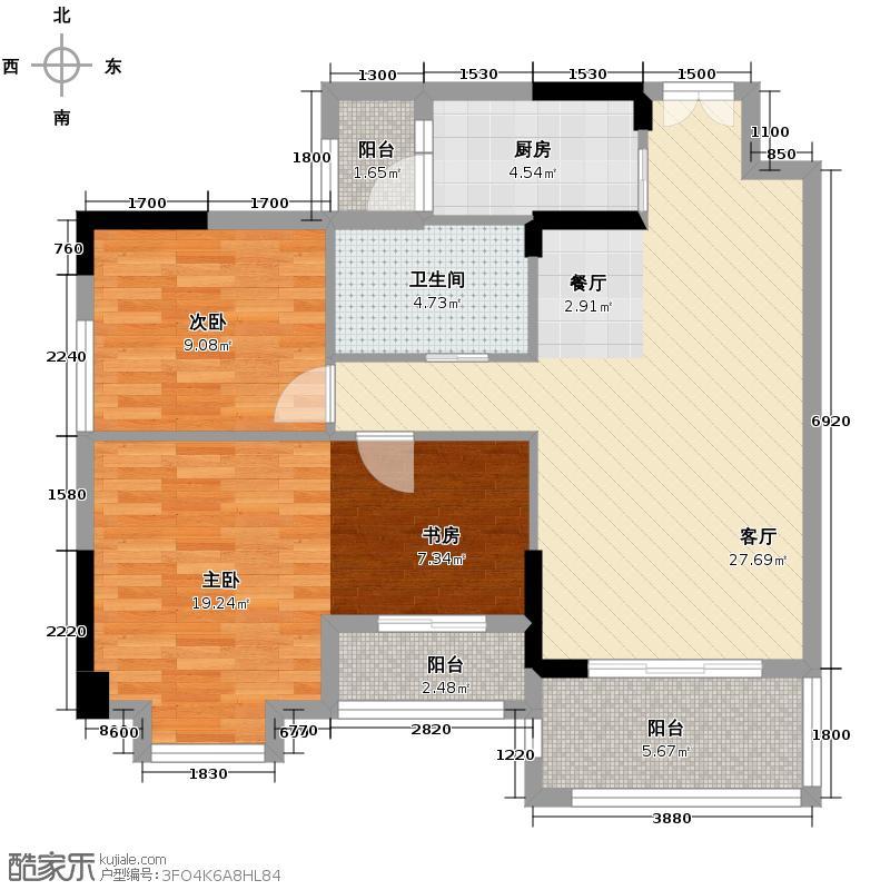 金沙御苑89.54㎡R\\\\\\\'-户型2室1厅1卫1厨