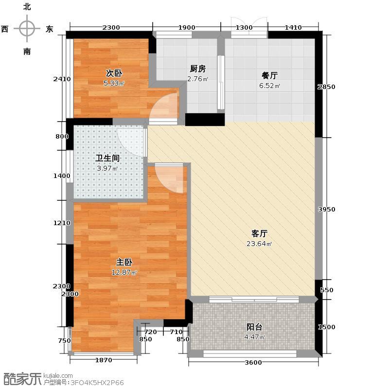 桔洲印象66.94㎡E户型2室1厅1卫