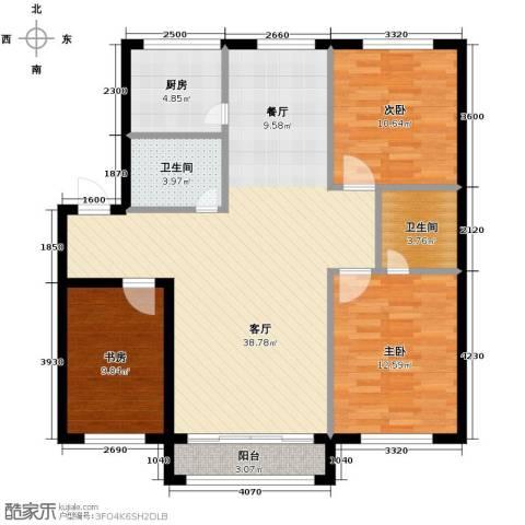 鸿博颐景花园3室2厅2卫0厨117.00㎡户型图