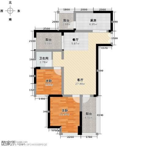 航天城上城2室2厅1卫0厨88.00㎡户型图