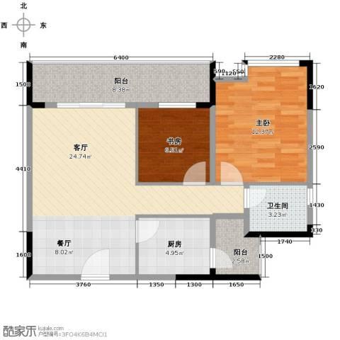 碧桂苑2室1厅1卫1厨62.76㎡户型图