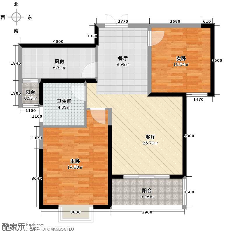铭城16号96.77㎡1号楼C赠户型2室1厅1卫1厨