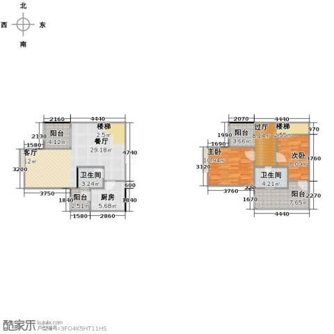 五星国色天香2室1厅2卫1厨119.00㎡户型图