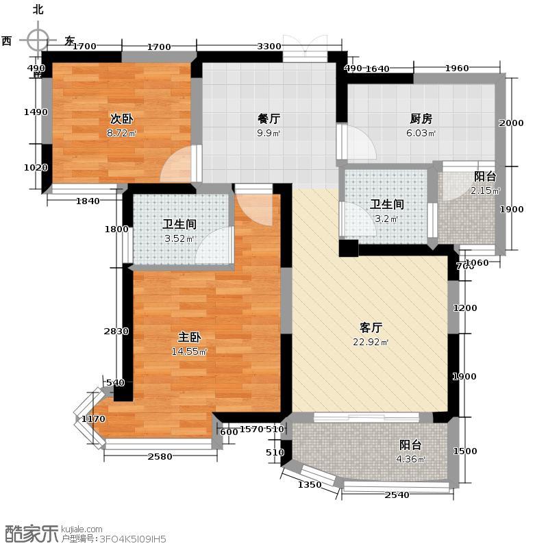 五矿万境水岸89.86㎡11号栋户型2室2厅2卫
