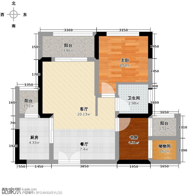 晋愉江州66.31㎡高层A1赠送户型2室1厅1卫1厨