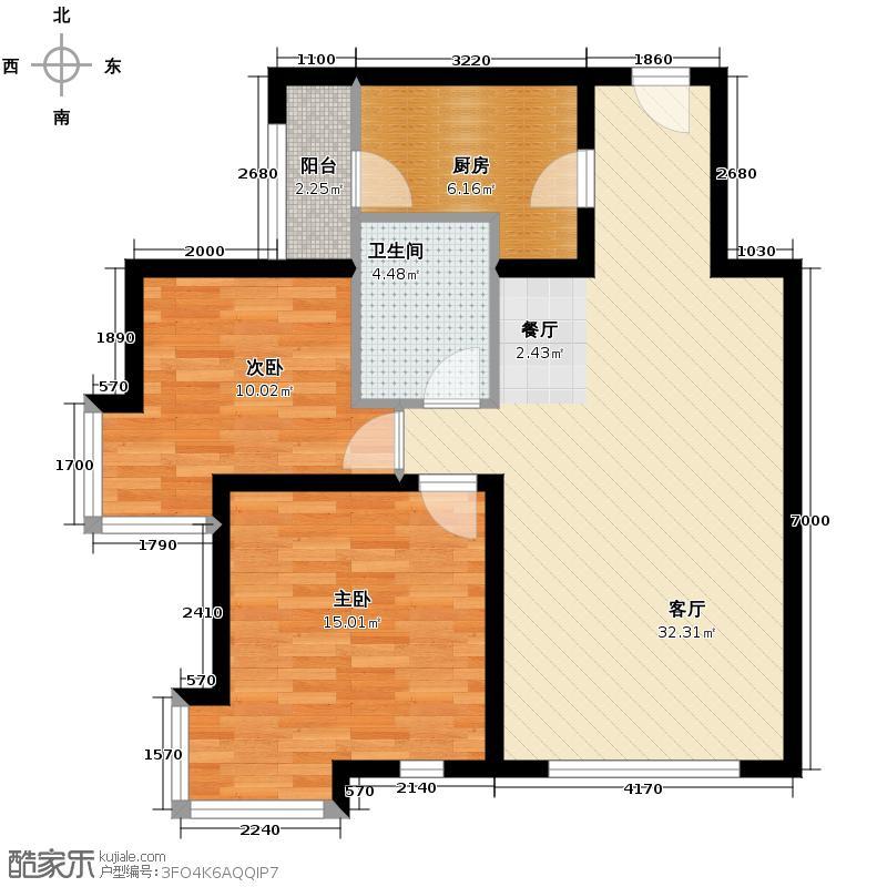 北京奥林匹克花园79.61㎡户型2室2厅1卫