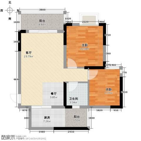 恒鑫名城2室1厅1卫1厨83.00㎡户型图