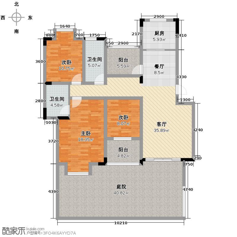 同景国际城雍华府158.92㎡B-1F双卫多功能厅可变户型2室2厅2卫