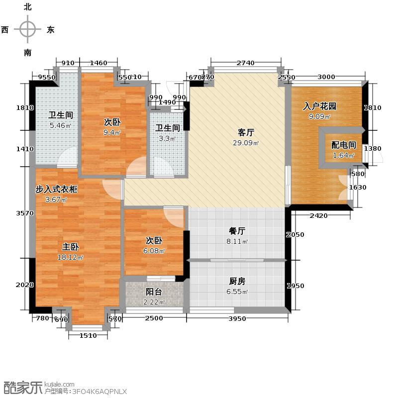 龙津华府128.70㎡C栋8-18层02单元户型3室2厅2卫