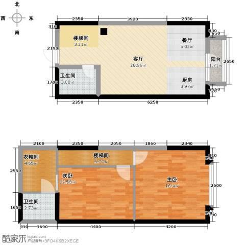 唐延公馆2室1厅2卫0厨73.77㎡户型图
