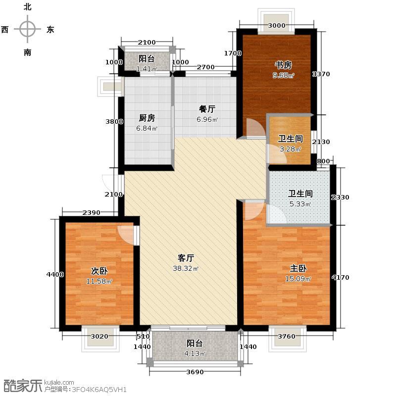 盛世长安131.00㎡B户型3室1厅2卫1厨
