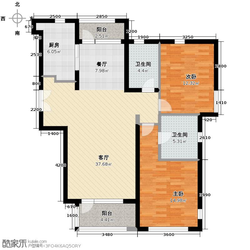 亿城堂庭125.00㎡B户型2室1厅2卫1厨