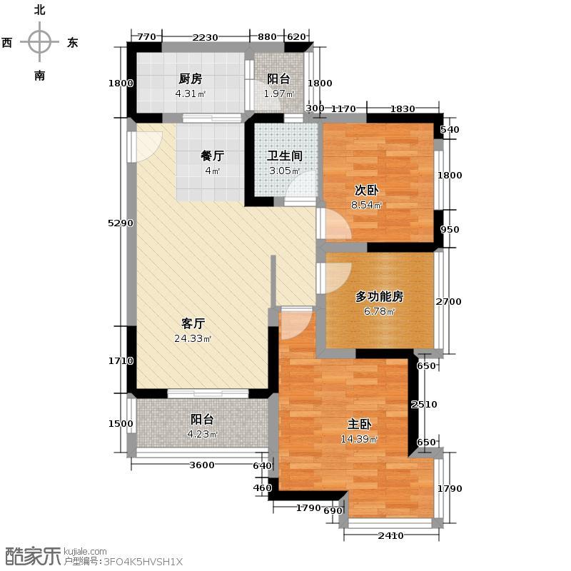 东原亲亲里76.58㎡1号楼C3+院馆户型2室1厅1卫1厨