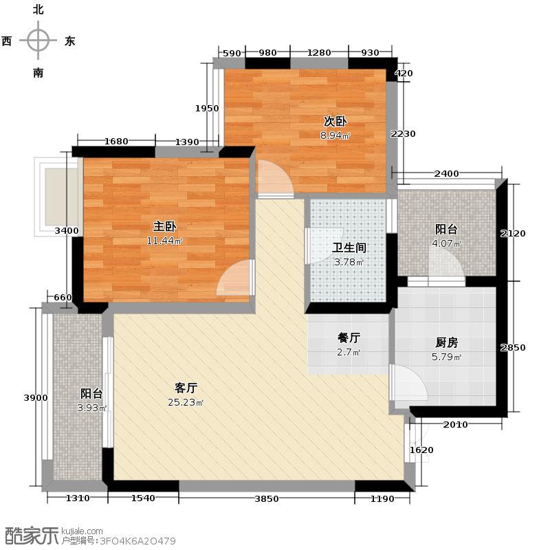 华润中央公园67.00㎡二期6号楼标准层3号房户型2室2厅1卫