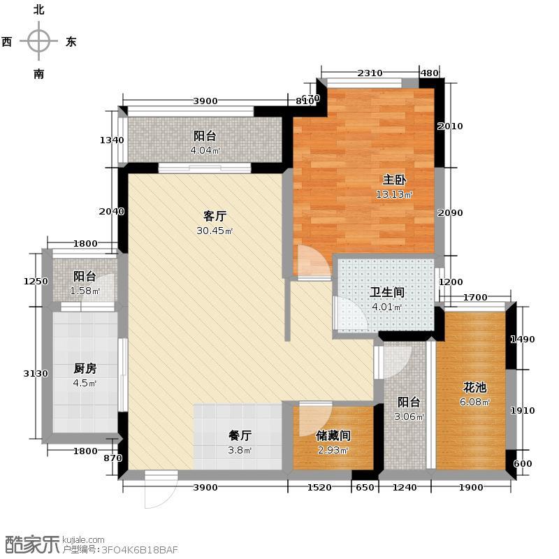 万科金域蓝湾85.00㎡2C创新户型1室2厅1卫