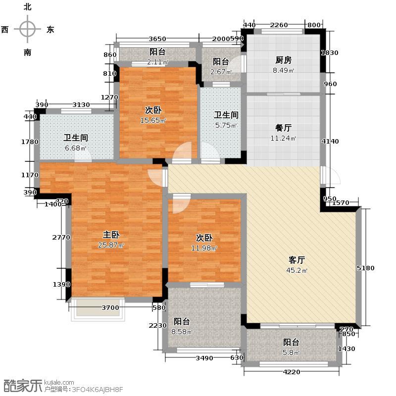 同景国际城馥山97.31㎡A-6F双卫户型2室2厅2卫