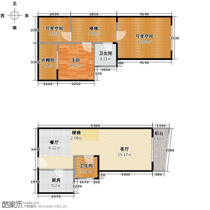 阳光100国际新城78.00㎡波谱洋房F518号楼户型1室2厅2卫