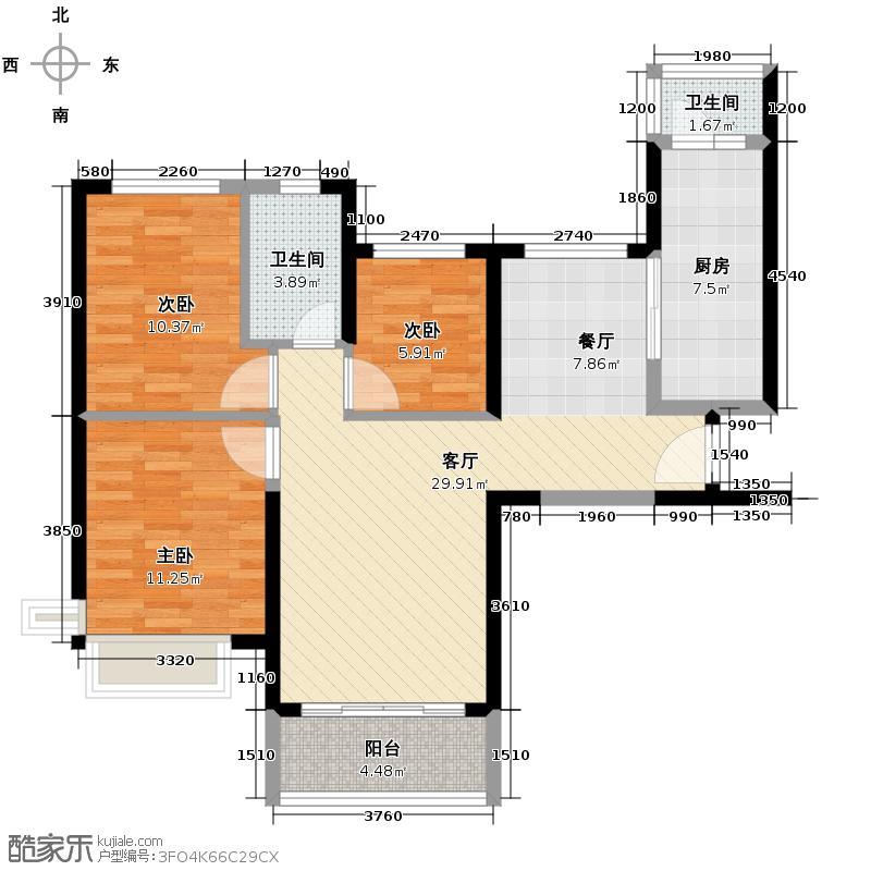 恒大海上夏威夷105.43㎡27、38、45、47号04户型3室2厅1卫