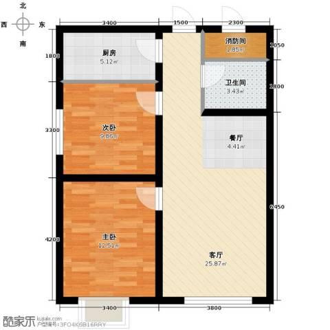 龙昌滨河源2室1厅1卫1厨89.00㎡户型图