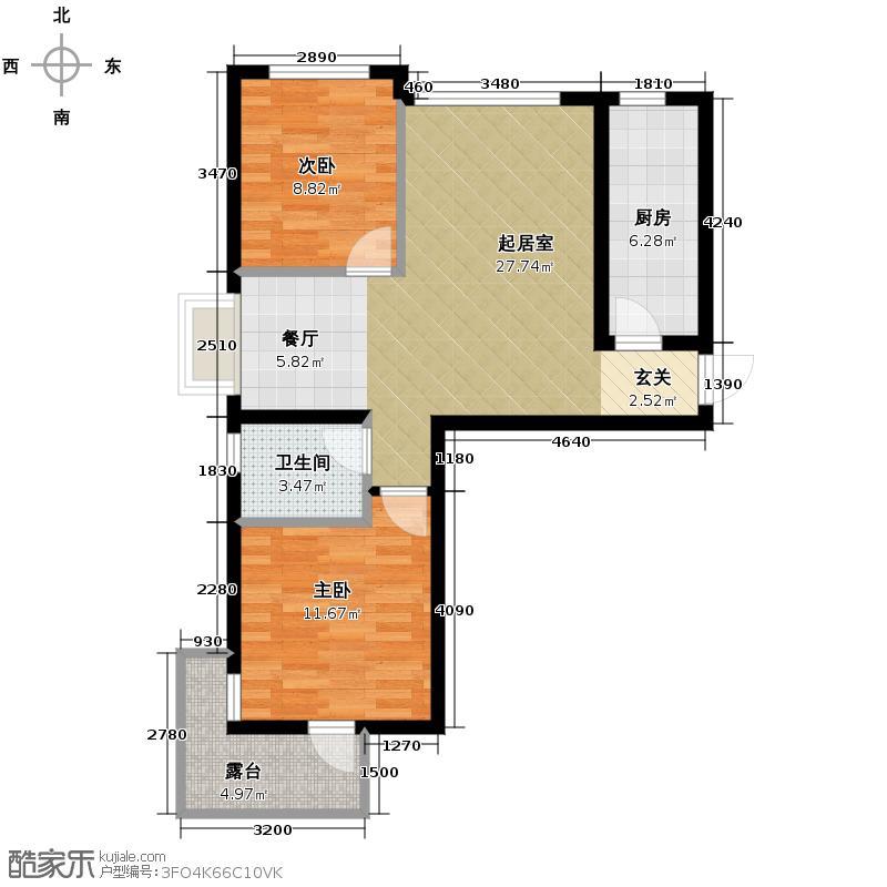 金隅・观澜时代92.00㎡G3\'户型2室2厅1卫
