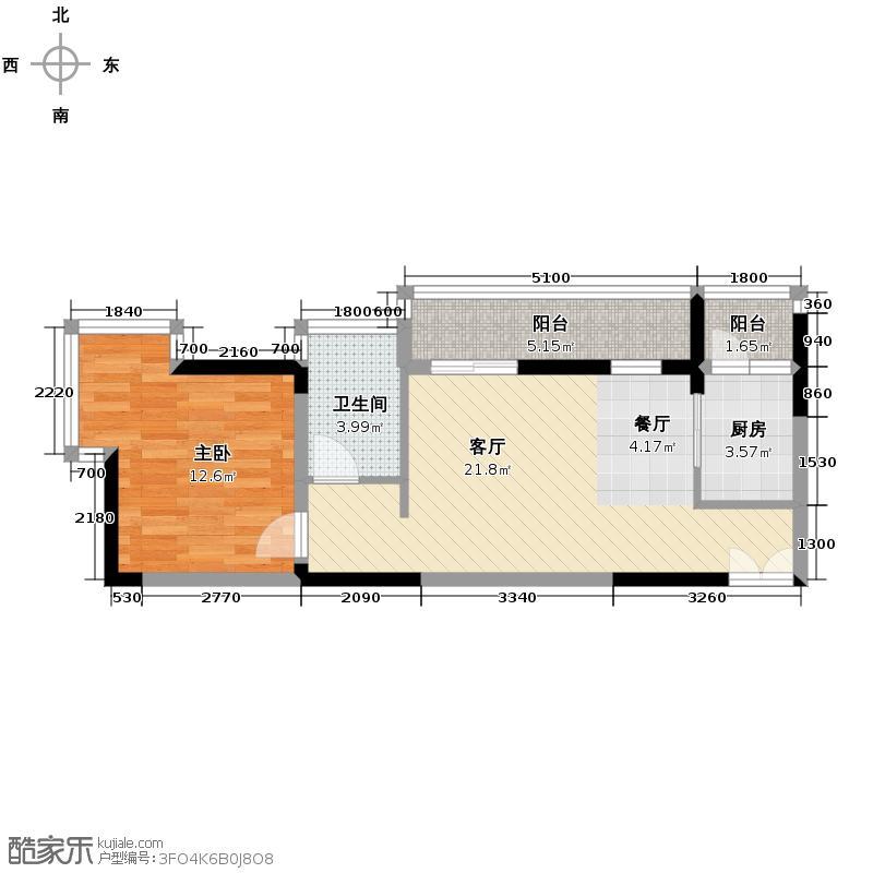 左岸美邻59.60㎡1#楼4-12层A1户型1室1厅1卫1厨