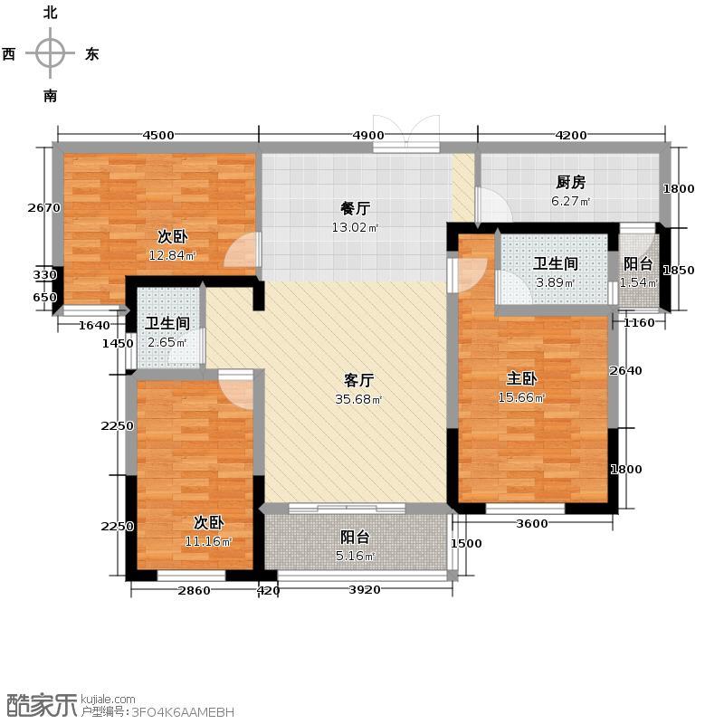 长房时代城126.73㎡C6户型4室2厅2卫