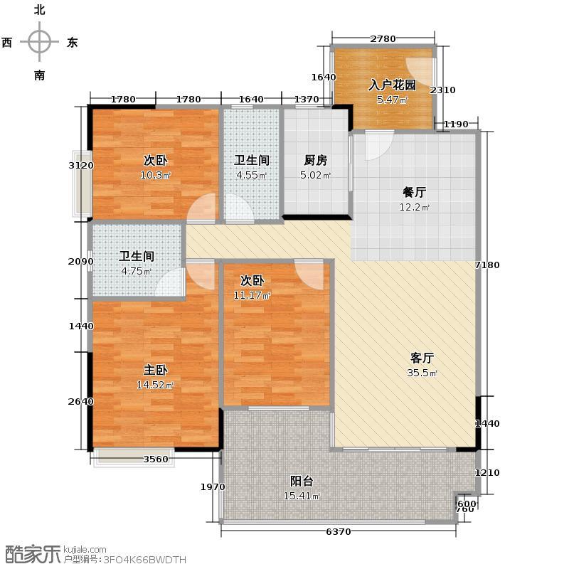 珠光南沙御景120.61㎡5栋02单元户型10室