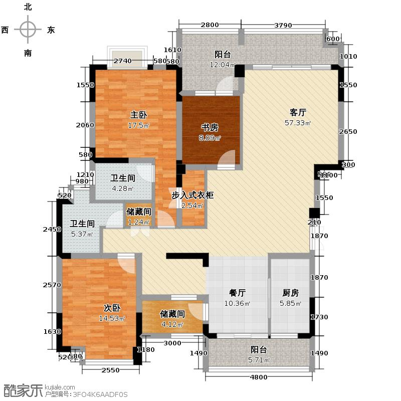 中铁西城157.87㎡顶跃7层四花园户型6室4厅4卫