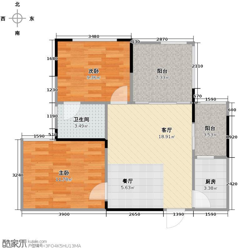 华宇金沙时代55.22㎡17号楼1号房户型2室1厅1卫1厨