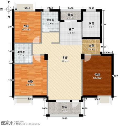 锦林山庄3室1厅2卫1厨144.00㎡户型图