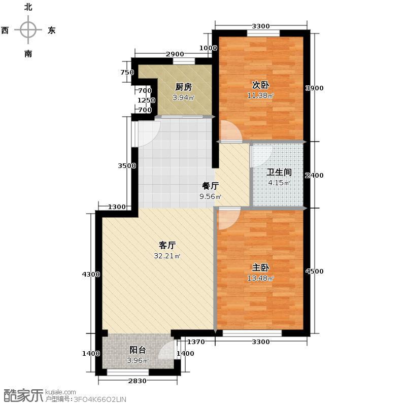 鹭岭72.74㎡11银角对户顶户型2室2厅1卫