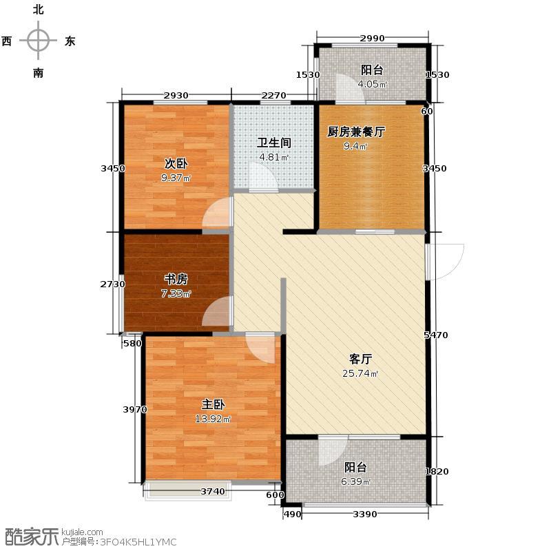 弘泽城117.32㎡9、10号楼户型3室2厅1卫