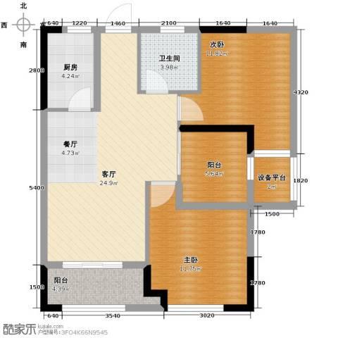 光谷坐标城�馆2室2厅1卫0厨84.00㎡户型图