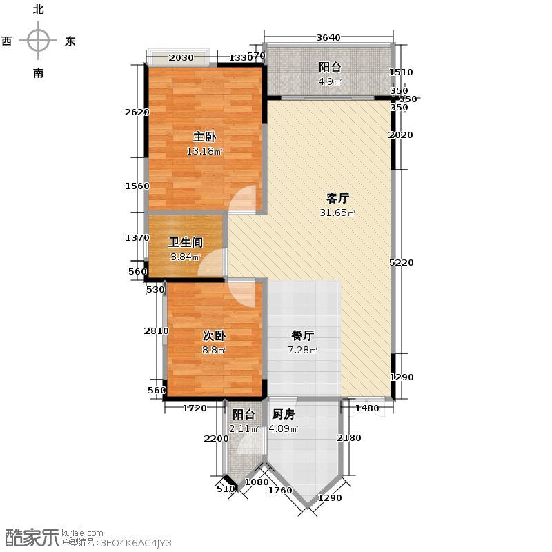 东方剑桥69.21㎡二期5号楼标准层G户型2室1厅1卫