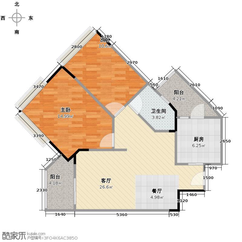 广州雅居乐花园76.24㎡时光九篇A型2栋201户型2室1厅1卫1厨